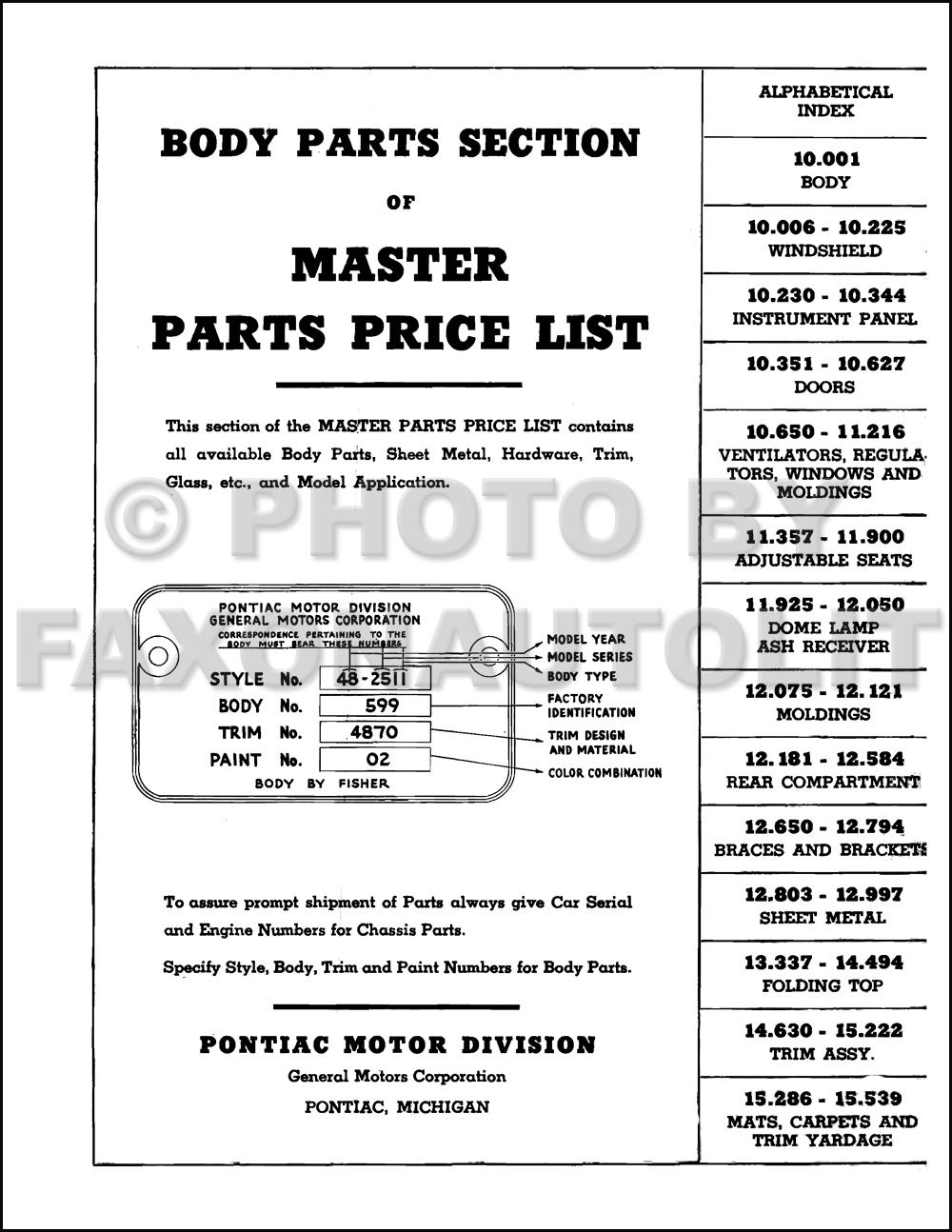 Amazon.com: 1937 1938 1939 1940 1941 Pontiac Parts Numbers Book ...