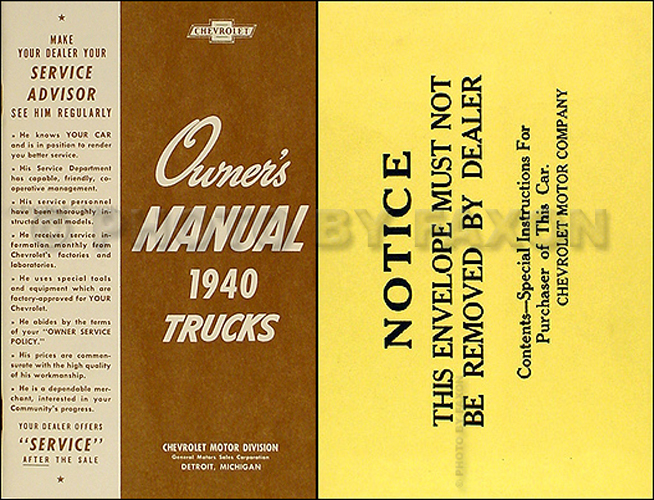 1940 Chevrolet Pickup Truck Reprint Owner's Manual Package