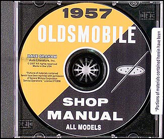 1957 Oldsmobile CD-ROM Repair Shop Manual for 57 Olds 88 & 98