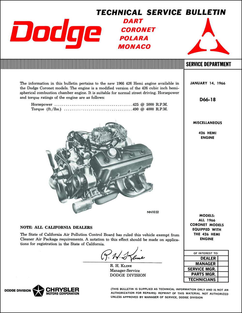 1966 Dodge Hemi Engine Repair Shop Manual Reprint SupplementFaxon Auto Literature