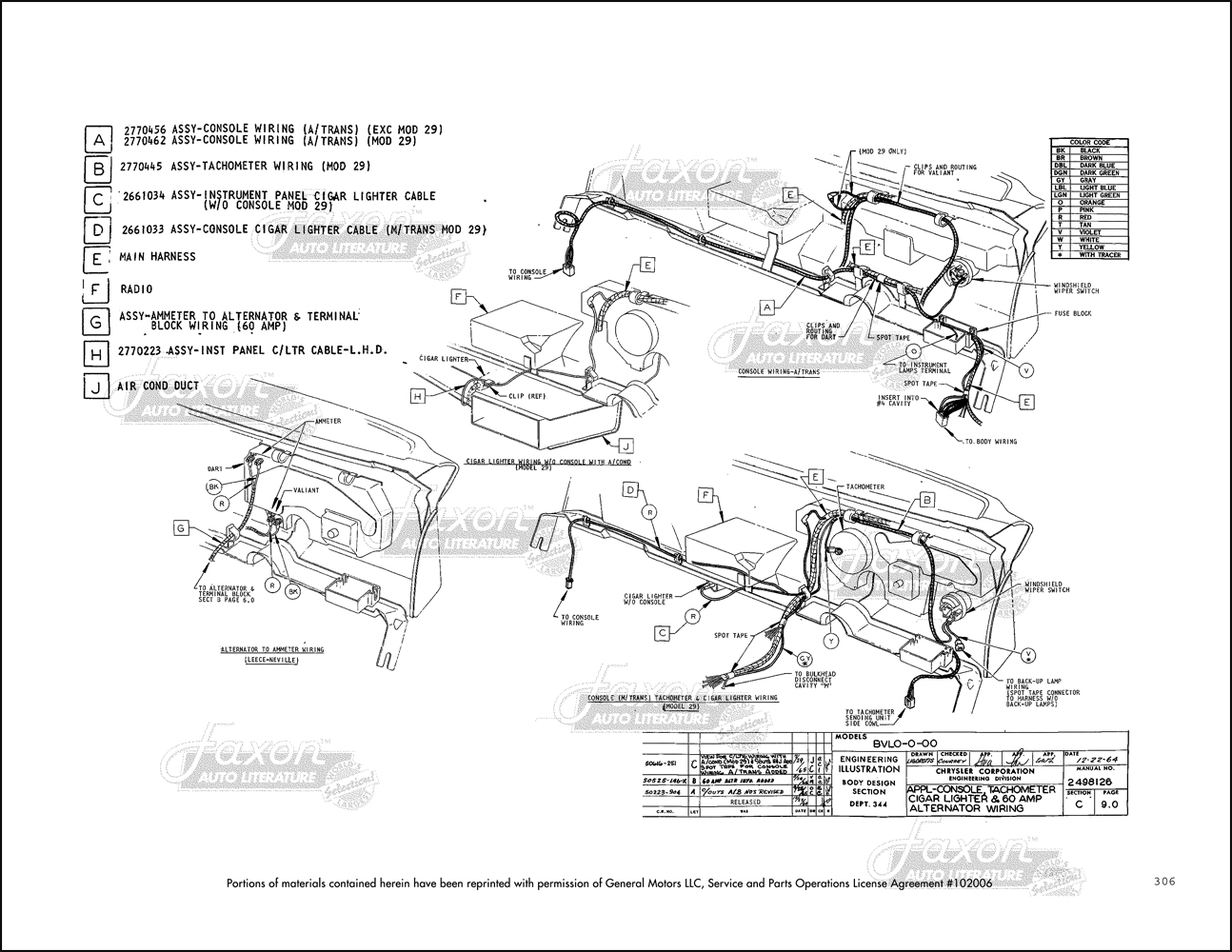 1966 Barracuda, Valiant and Dart Electrical and Body Assembly Manual ReprintFaxon Auto Literature