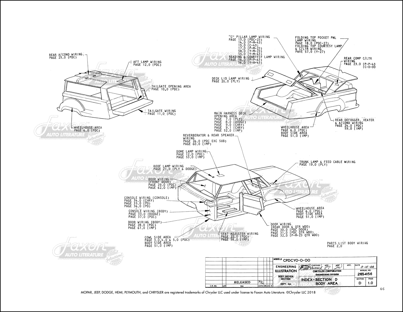 1967 Chrysler, Dodge, and Plymouth Big Car Electrical embly Manual on