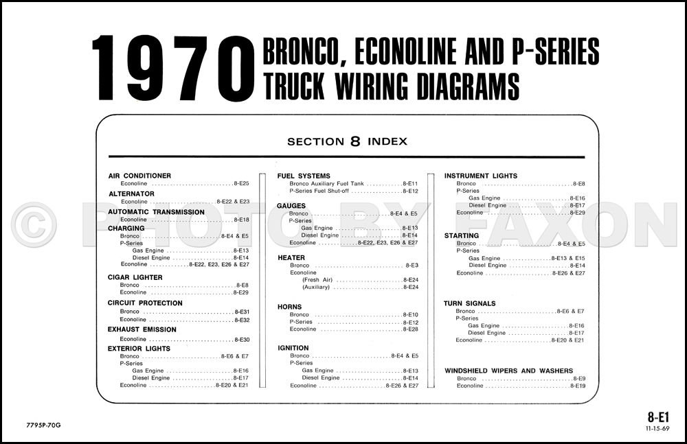 1970 ford bronco and econoline wiring diagrams e100 e200 e300 van club