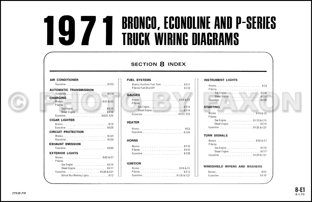 1971 ford bronco econoline wiring diagram original e100 e200 e300 click for image 1
