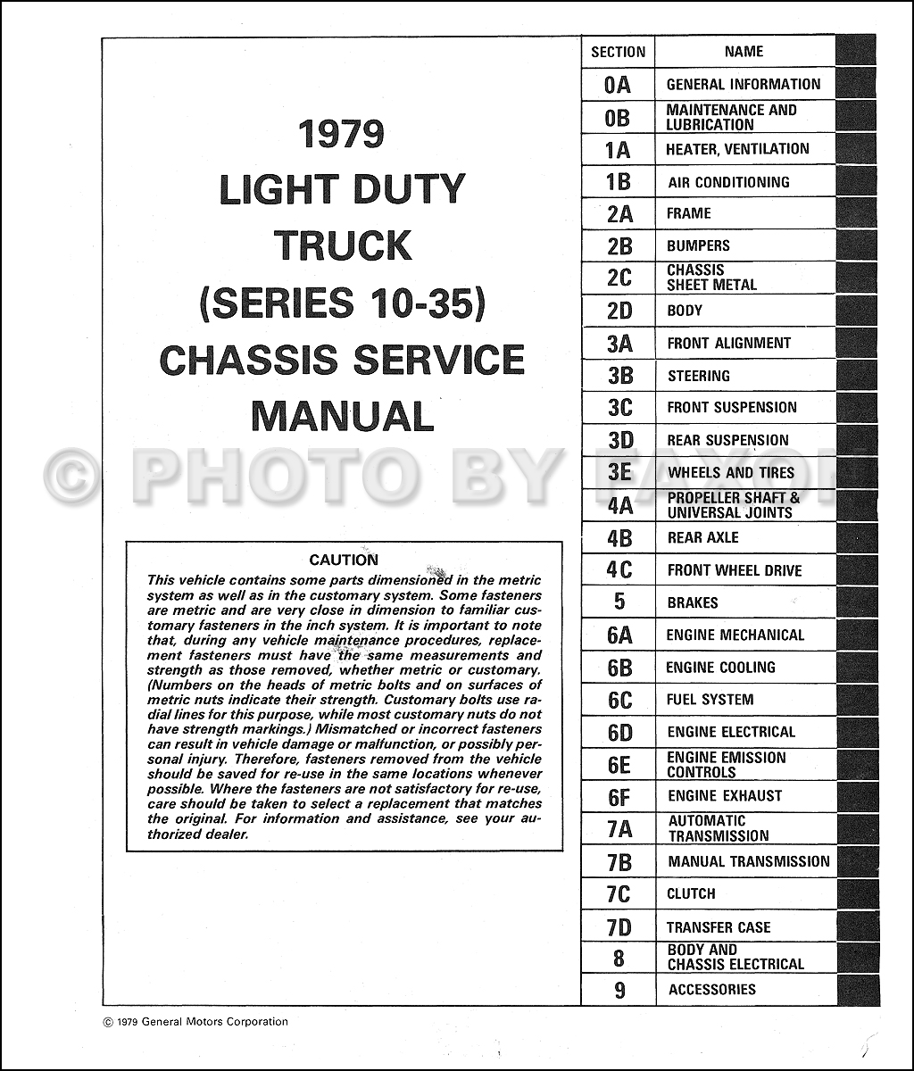 1979 Chevy Truck Shop Manual Pickup Van Blazer Suburban Cheyenne Chevrolet