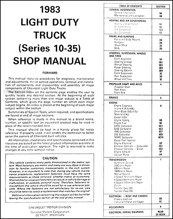 chevrolet truck repair shop manual cd pickup van blazer 1982 1983 chevrolet truck repair shop manual cd pickup van blazer suburban