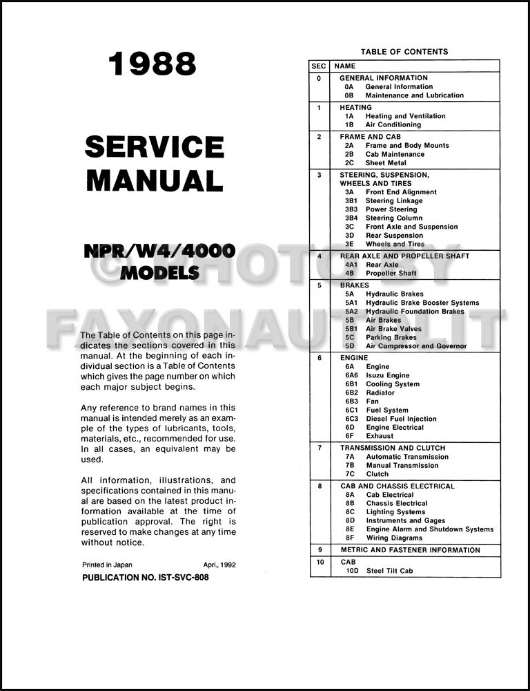 1988 isuzu npr chevy gmc w4 tiltmaster truck repair shop manual table of contents page