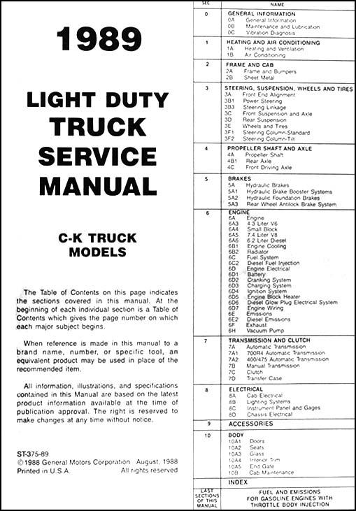 1989 chevy ck pickup shop manual chevrolet truck cheyenne scottsdale silverado