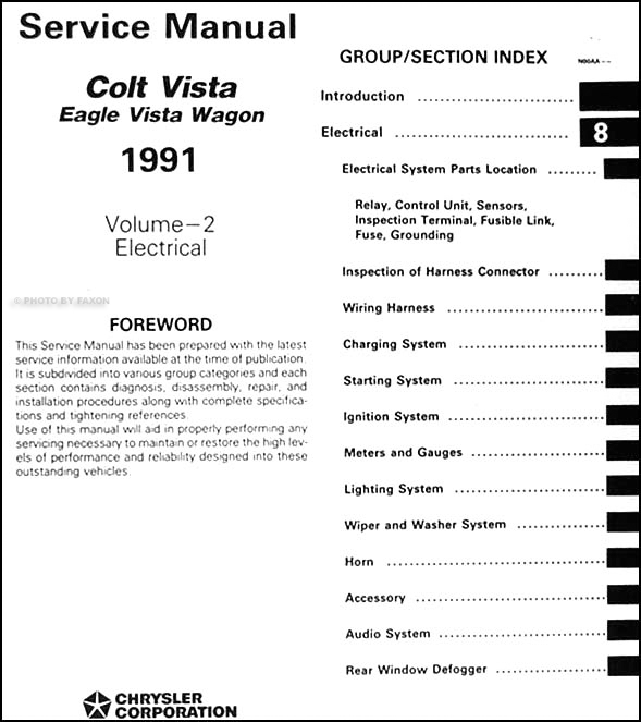 Dodge Colt Dl. 1991 Colt Vista amp; Eagle Vista