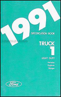 1991 Service Specs Book Original Ranger Explorer Aerostar Ford