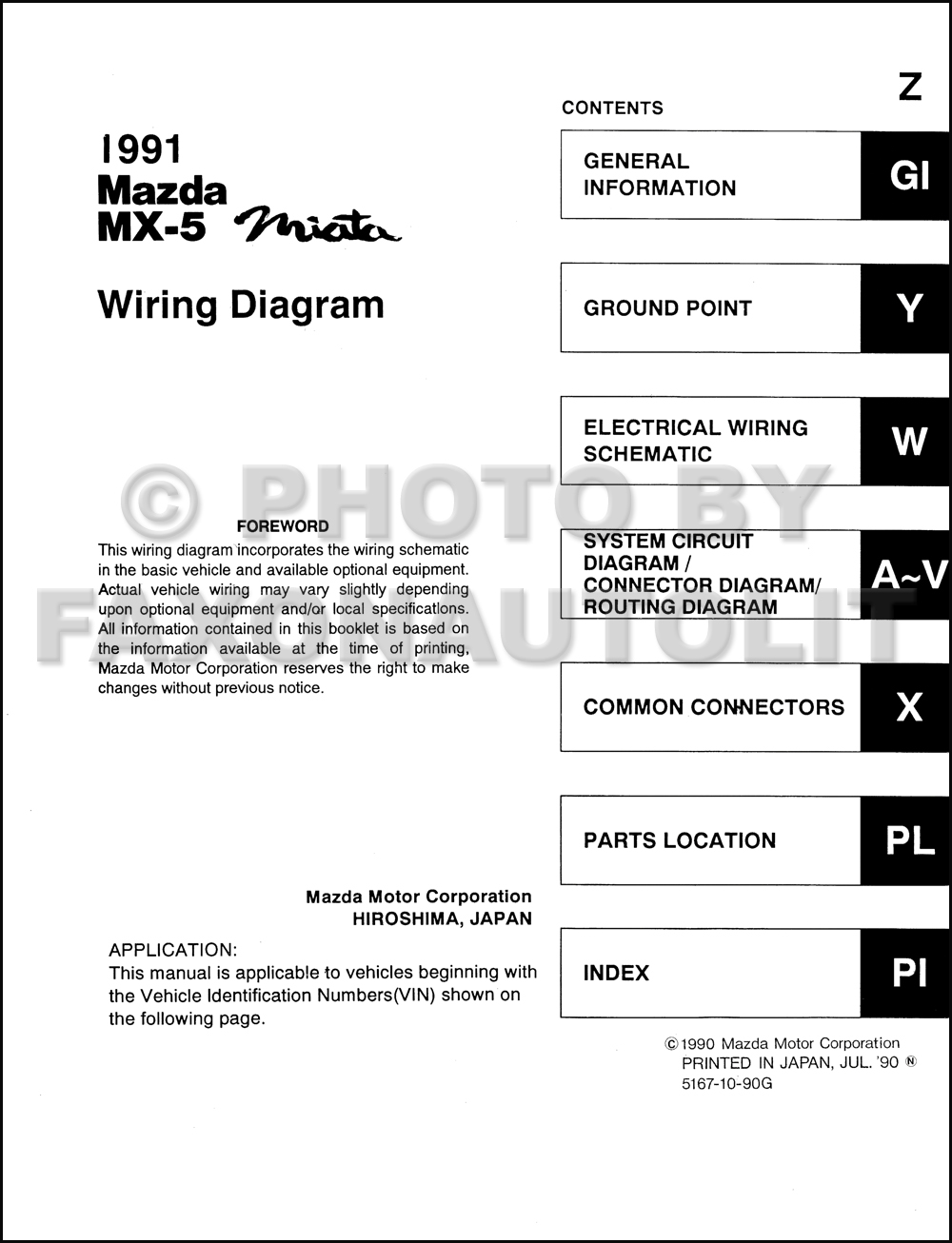1991 Mazda MX-5 Miata Wiring Diagram Manual Original