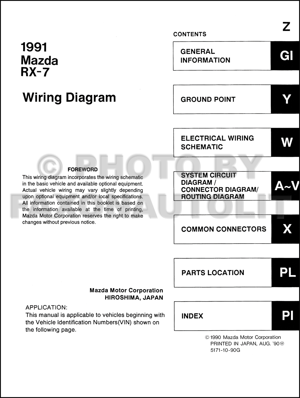1991 mazda rx7 wiring diagram wiring diagrams 1991 mazda rx 7 wiring diagram manual original rx7
