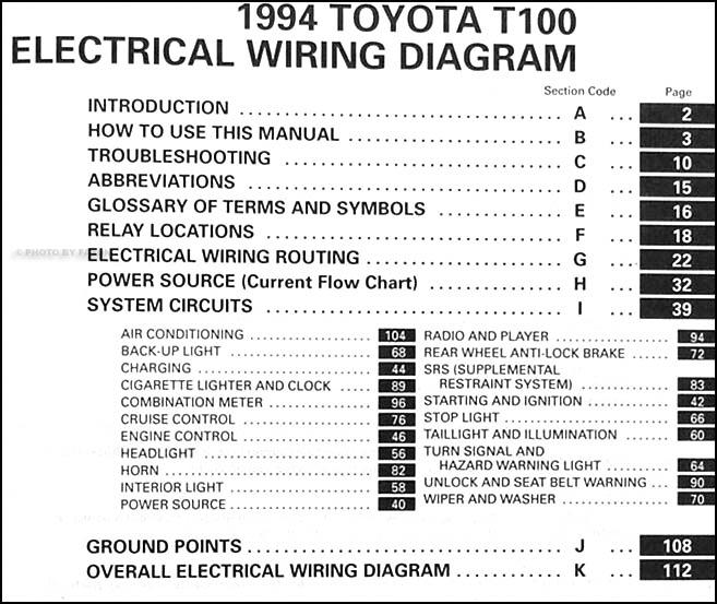 toyota t wiring diagram toyota image wiring diagram 1994 toyota t100 truck wiring diagram manual original supplement on toyota t100 wiring diagram