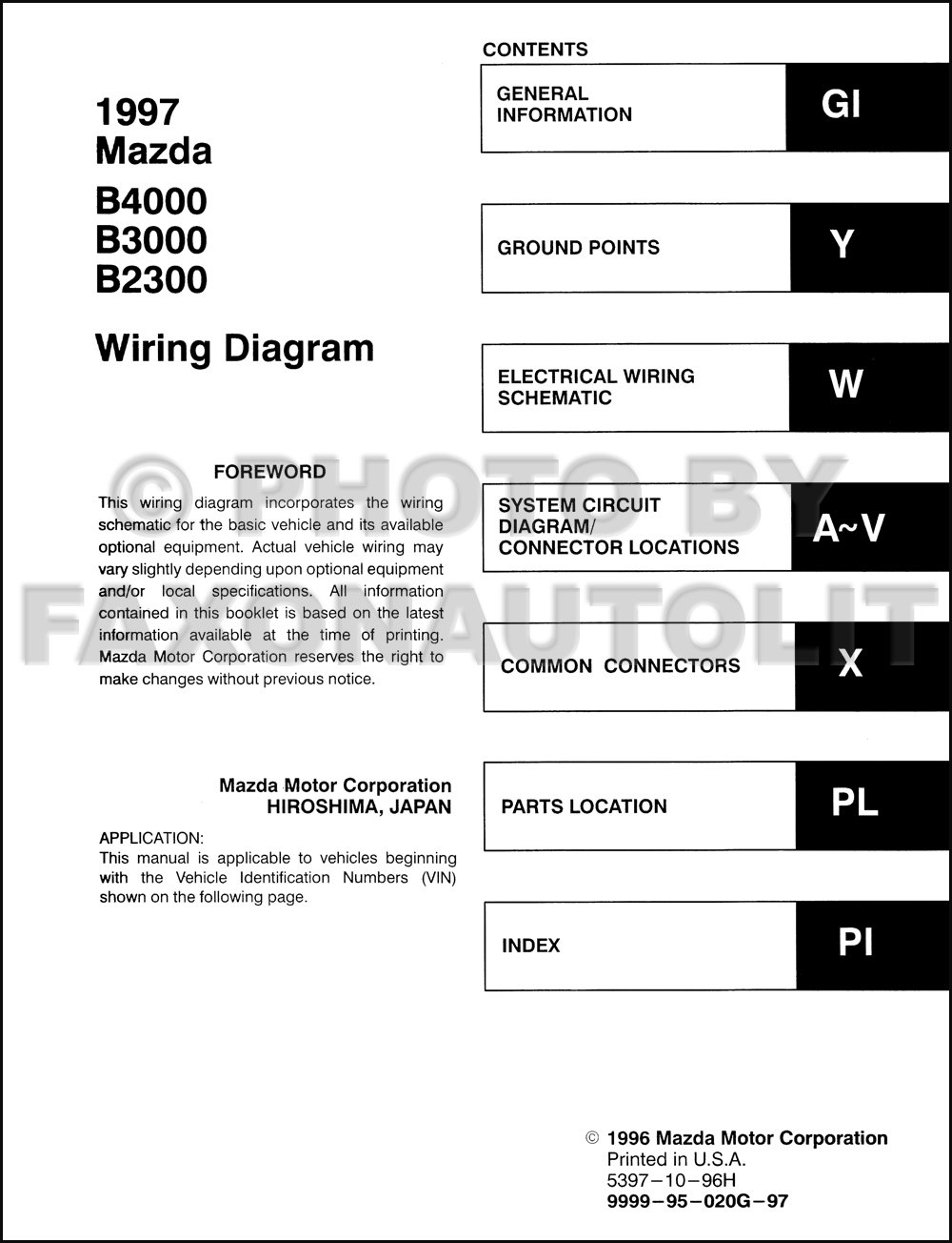 1994 mazda b4000 wiring diagram 1994 image wiring 1997 mazda b4000 b3000 b2300 pickup truck wiring diagram manual on 1994 mazda b4000 wiring diagram