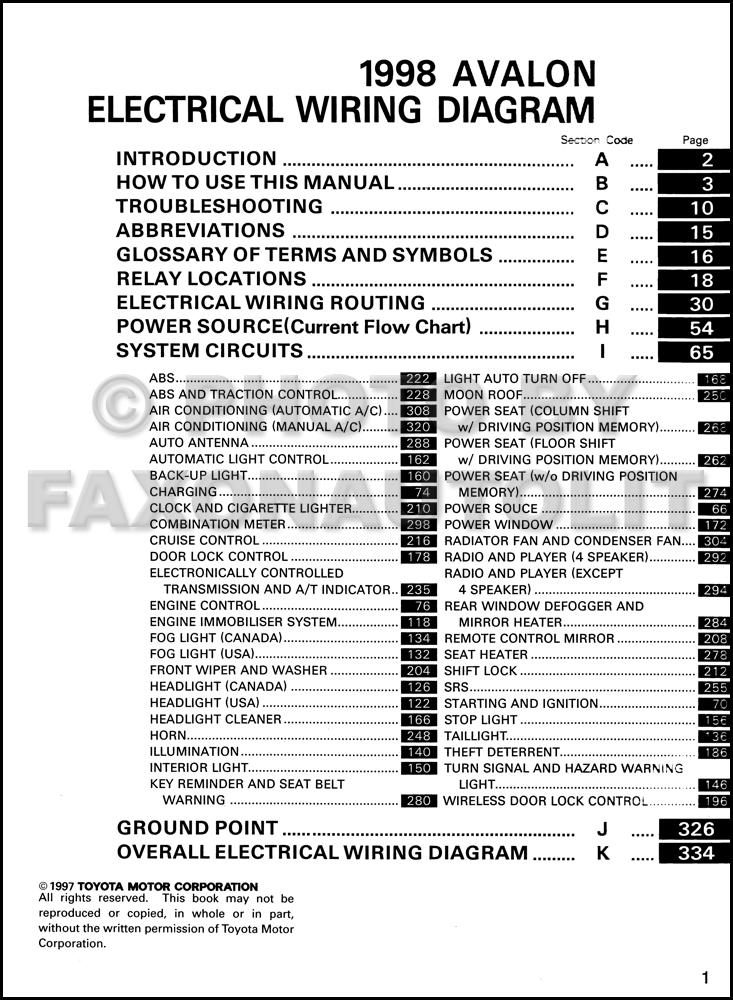 2000 toyota avalon wiring diagram 2000 image 1998 toyota avalon wiring diagram manual original on 2000 toyota avalon wiring diagram