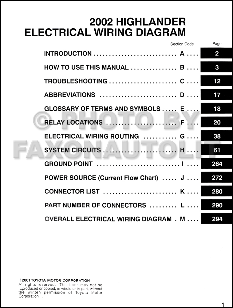2002 toyota highlander wiring diagram manual original table of contents page