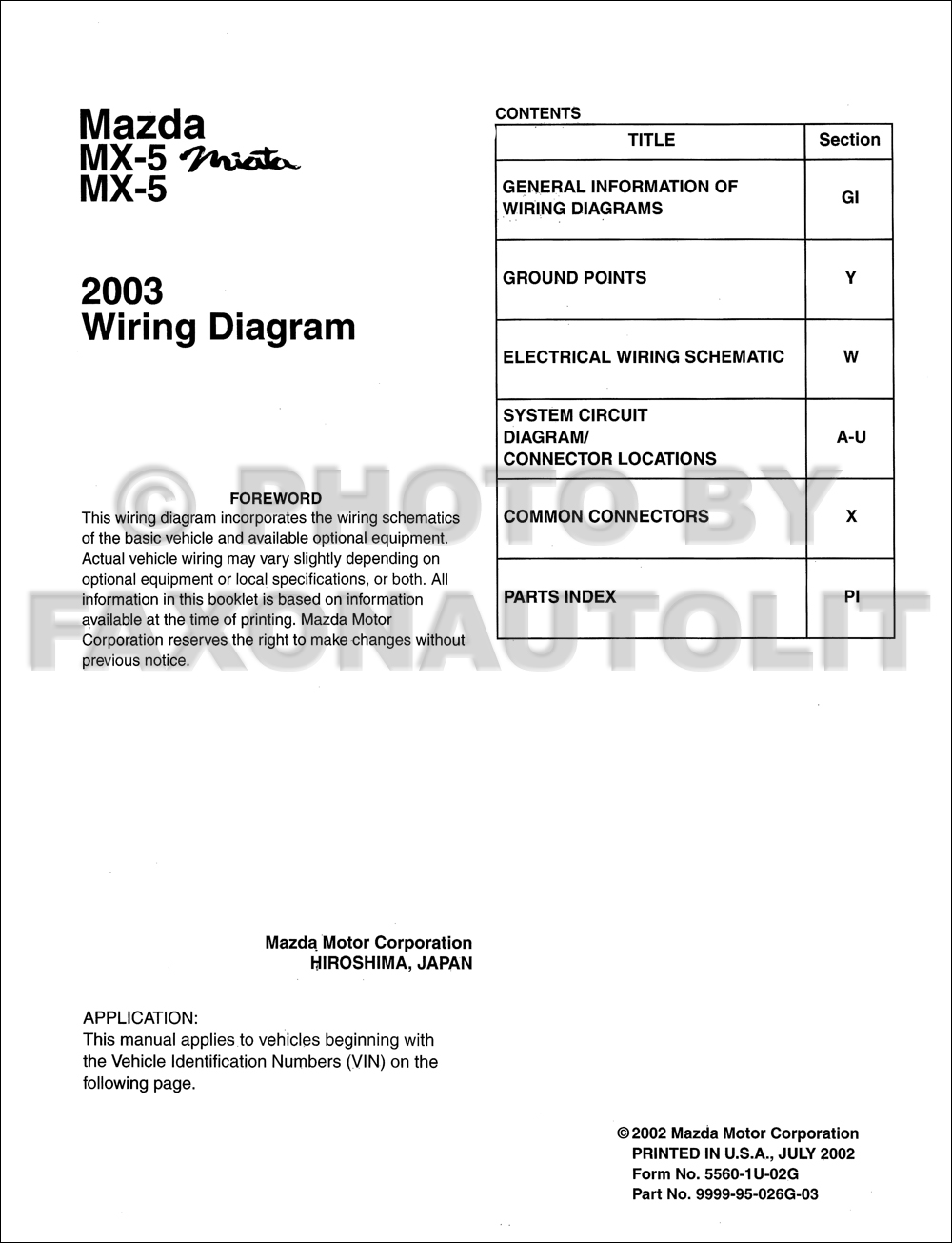 2003 mazda mx 5 miata mx 5 wiring diagram manual original