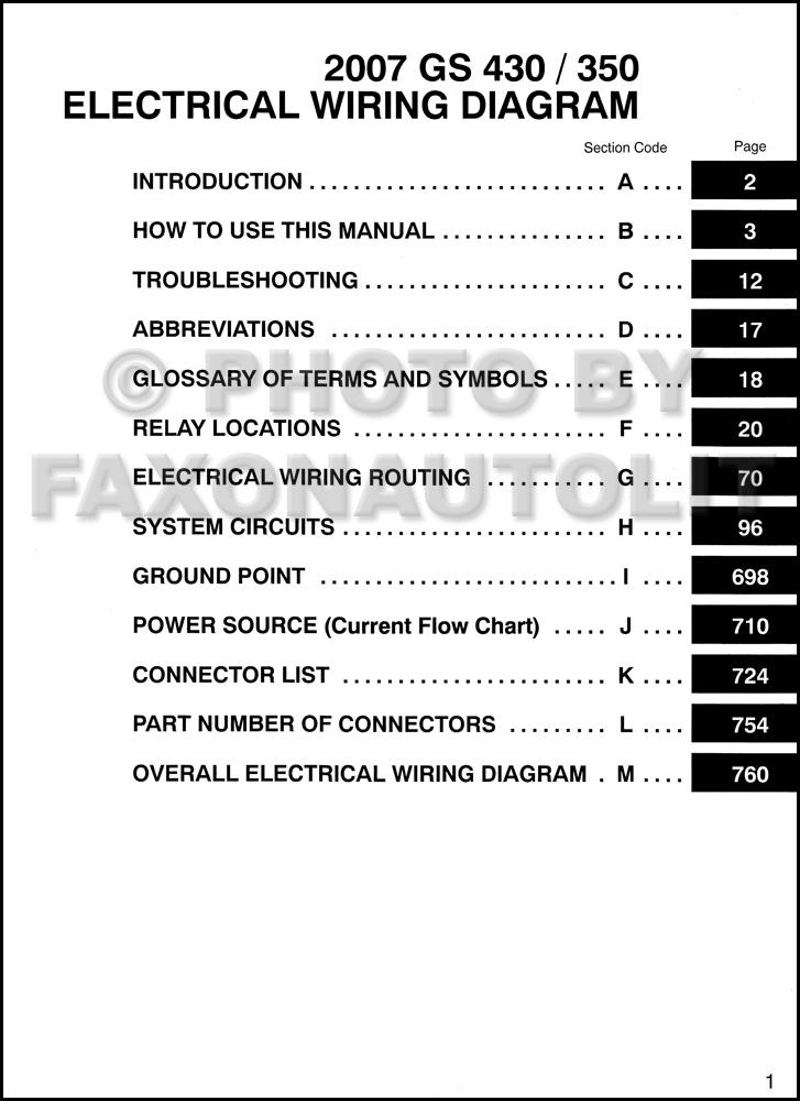2007 lexus gs 430 350 wiring diagram manual original