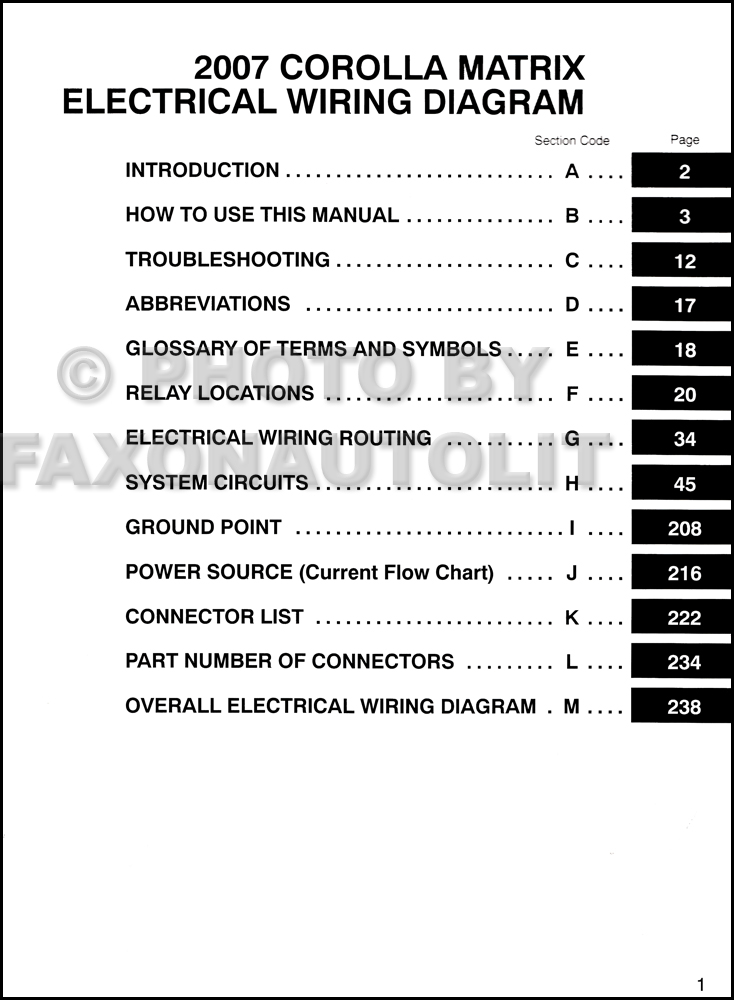 2007 toyota matrix wiring diagram manual original