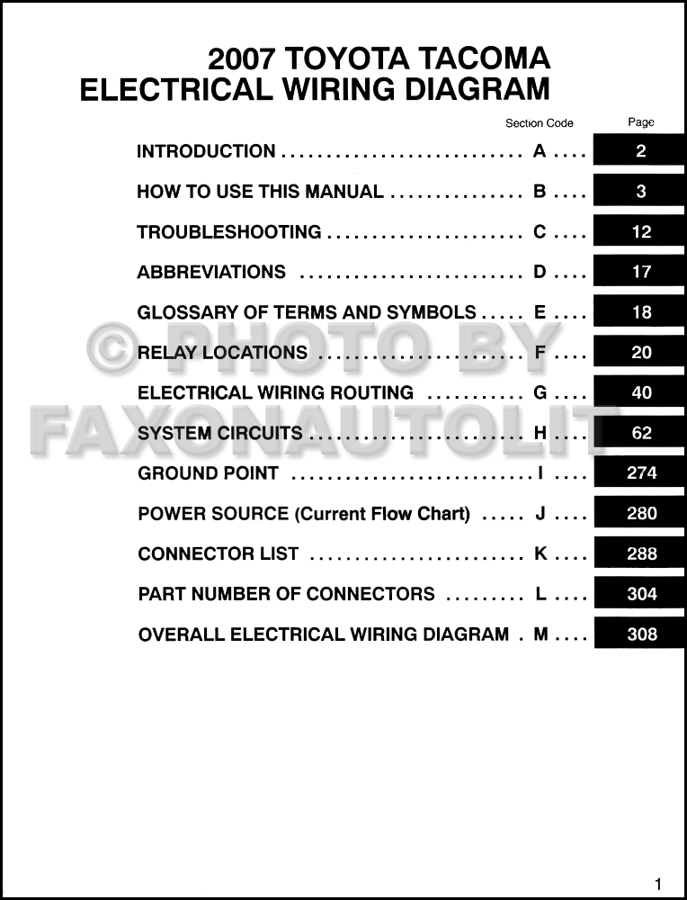 2007 toyota tacoma pickup wiring diagram manual original