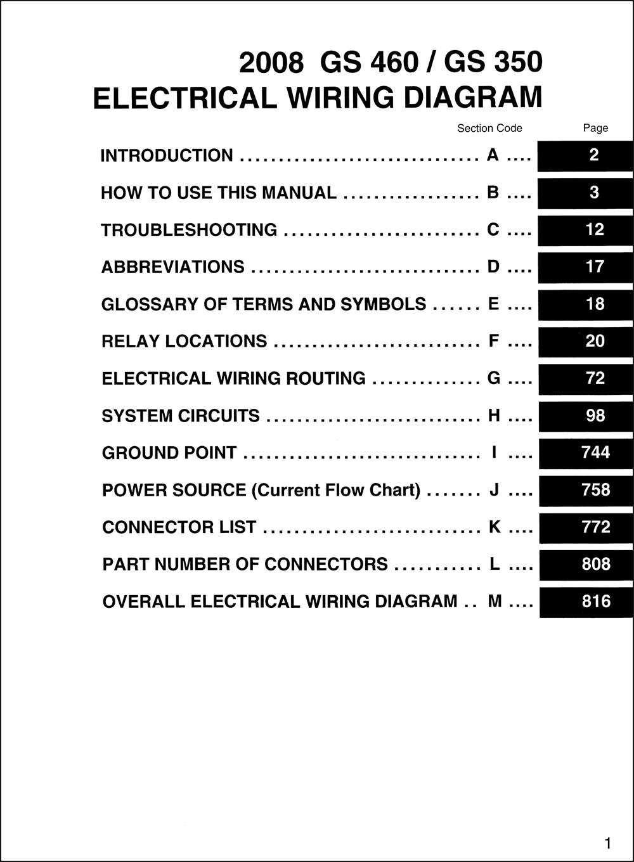 2008 Lexus GS 350 and GS 460 Wiring Diagram ManualFaxon Auto Literature