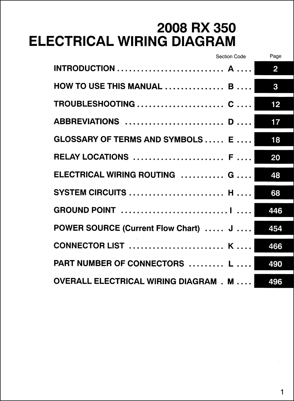 2008 Lexus Rx 350 Wiring Diagram Manual Original