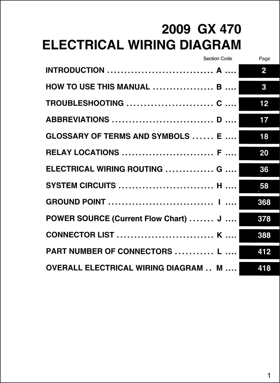 2009 Lexus Gx 470 Wiring Diagram Manual Original
