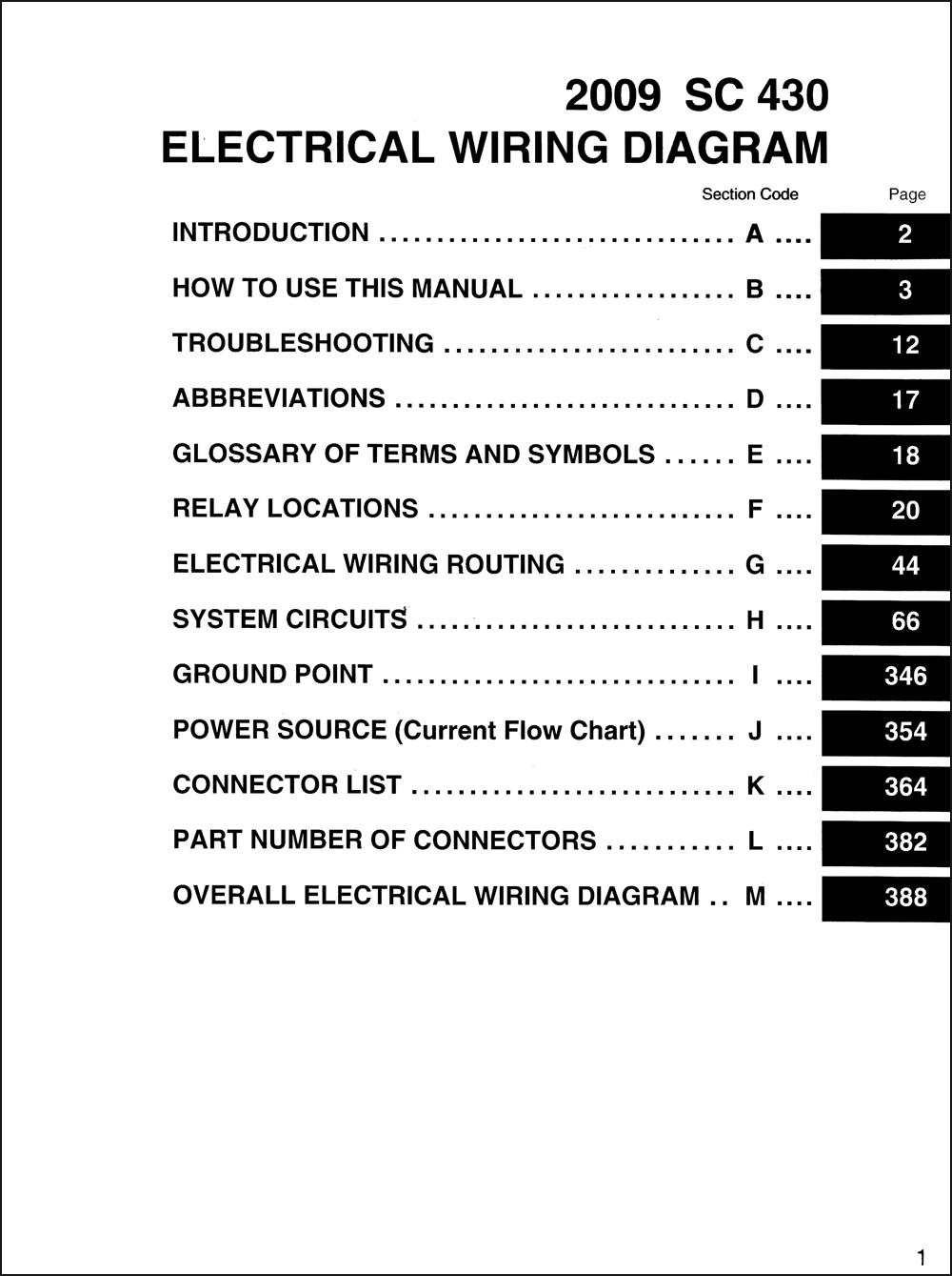 2009 Lexus Sc 430 Wiring Diagram Manual Original