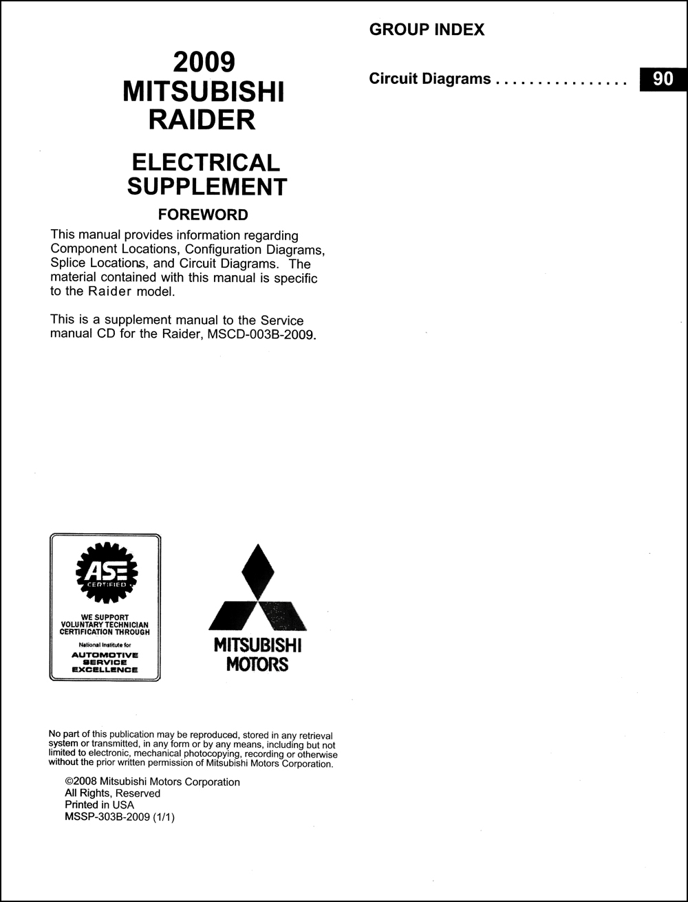 2009 Mitsubishi Raider Wiring Diagram Manual Original