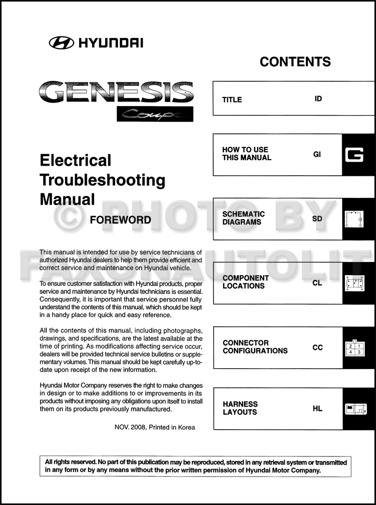 2010 hyundai genesis coupe electrical troubleshooting manual original table of contents page