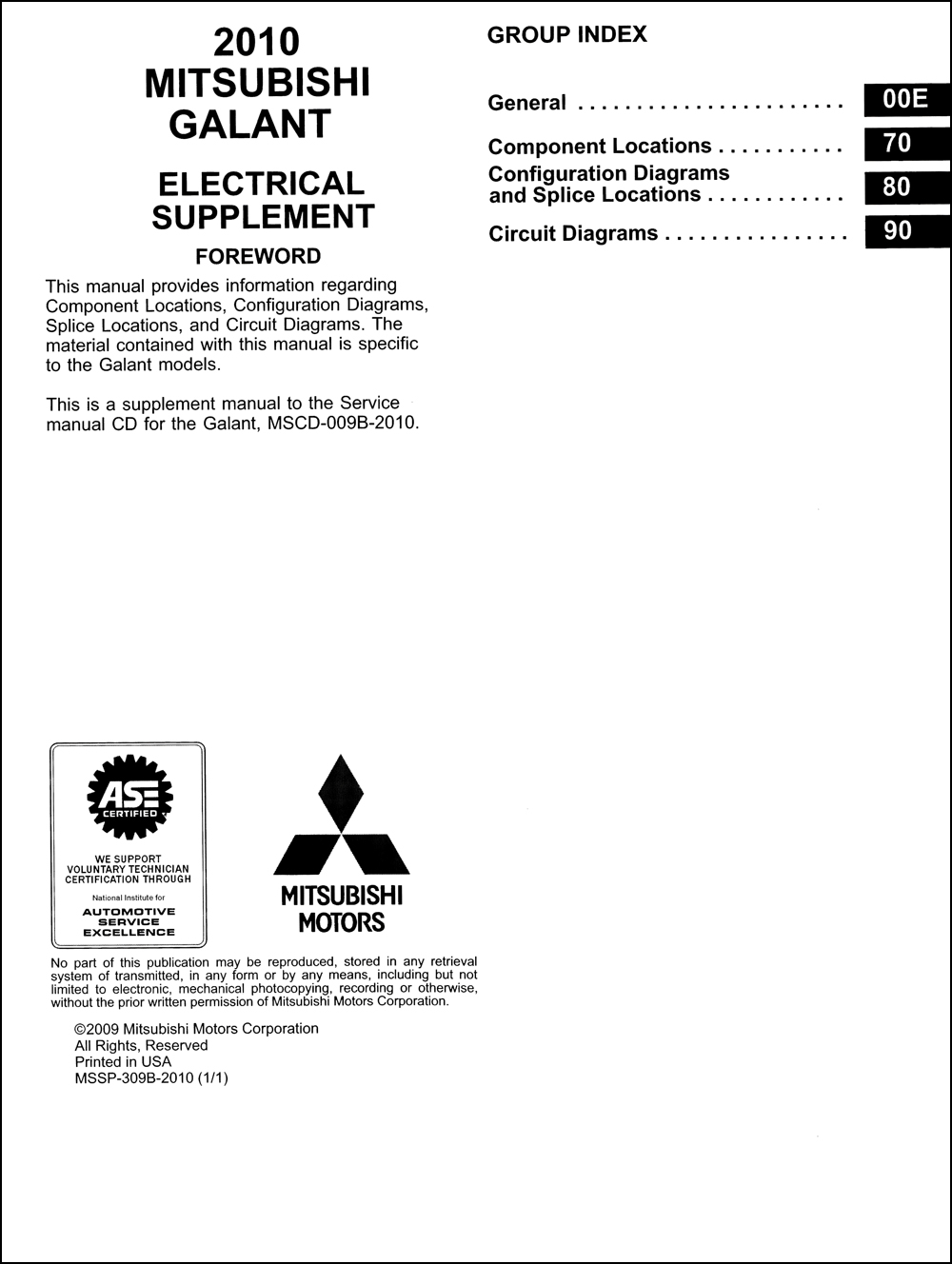2010 Mitsubishi Galant Wiring Diagram Manual Original