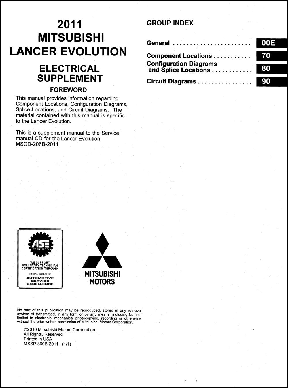 2011 Mitsubishi Lancer Evolution Wiring Diagram Manual