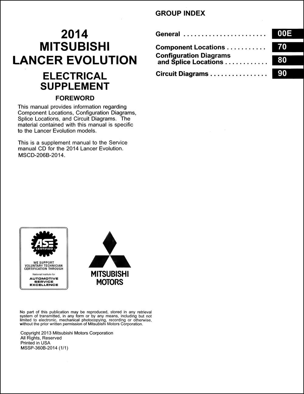 2014 Mitsubishi Lancer Evolution Wiring Diagram Manual