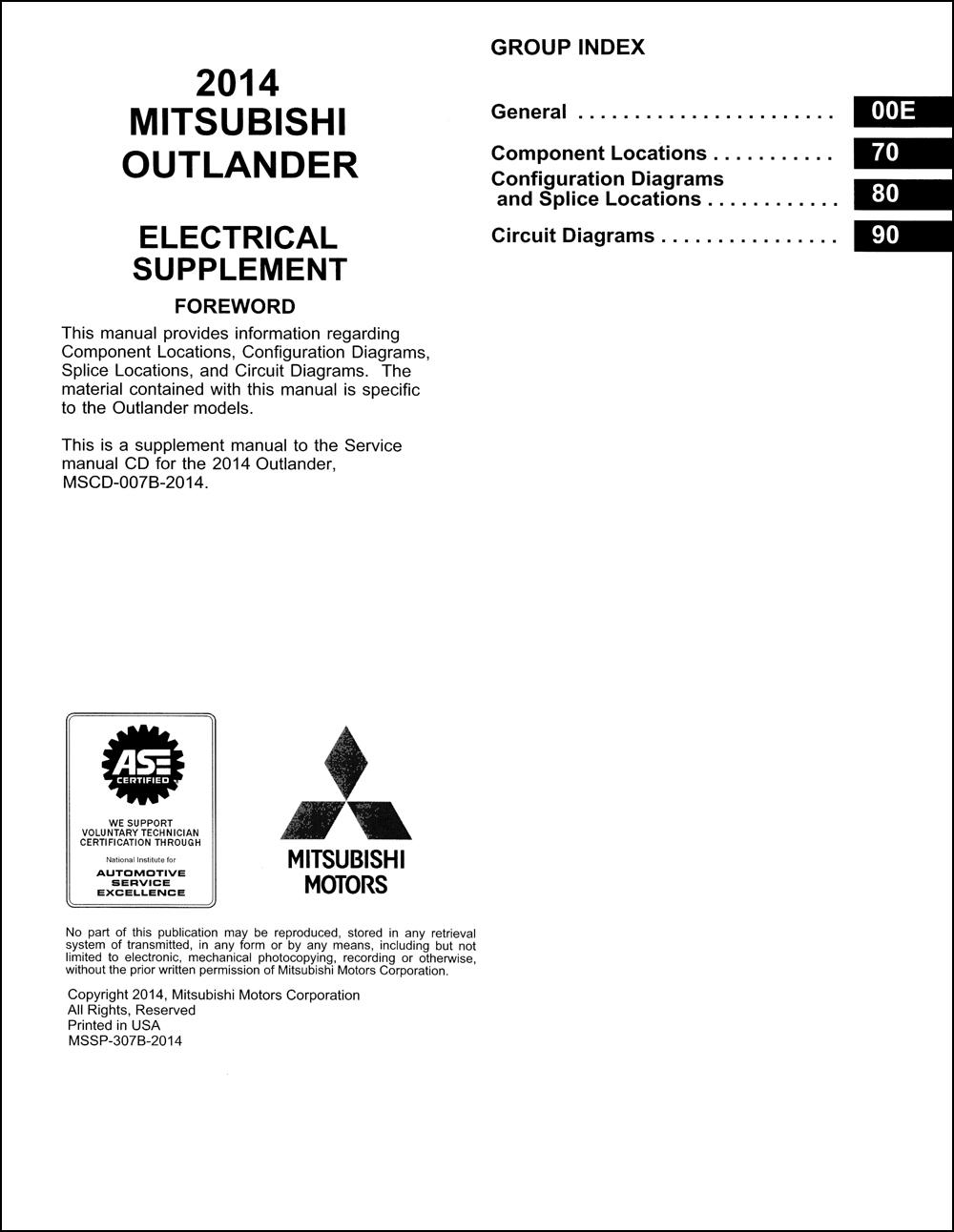 2014 Mitsubishi Outlander Wiring Diagram Manual Original