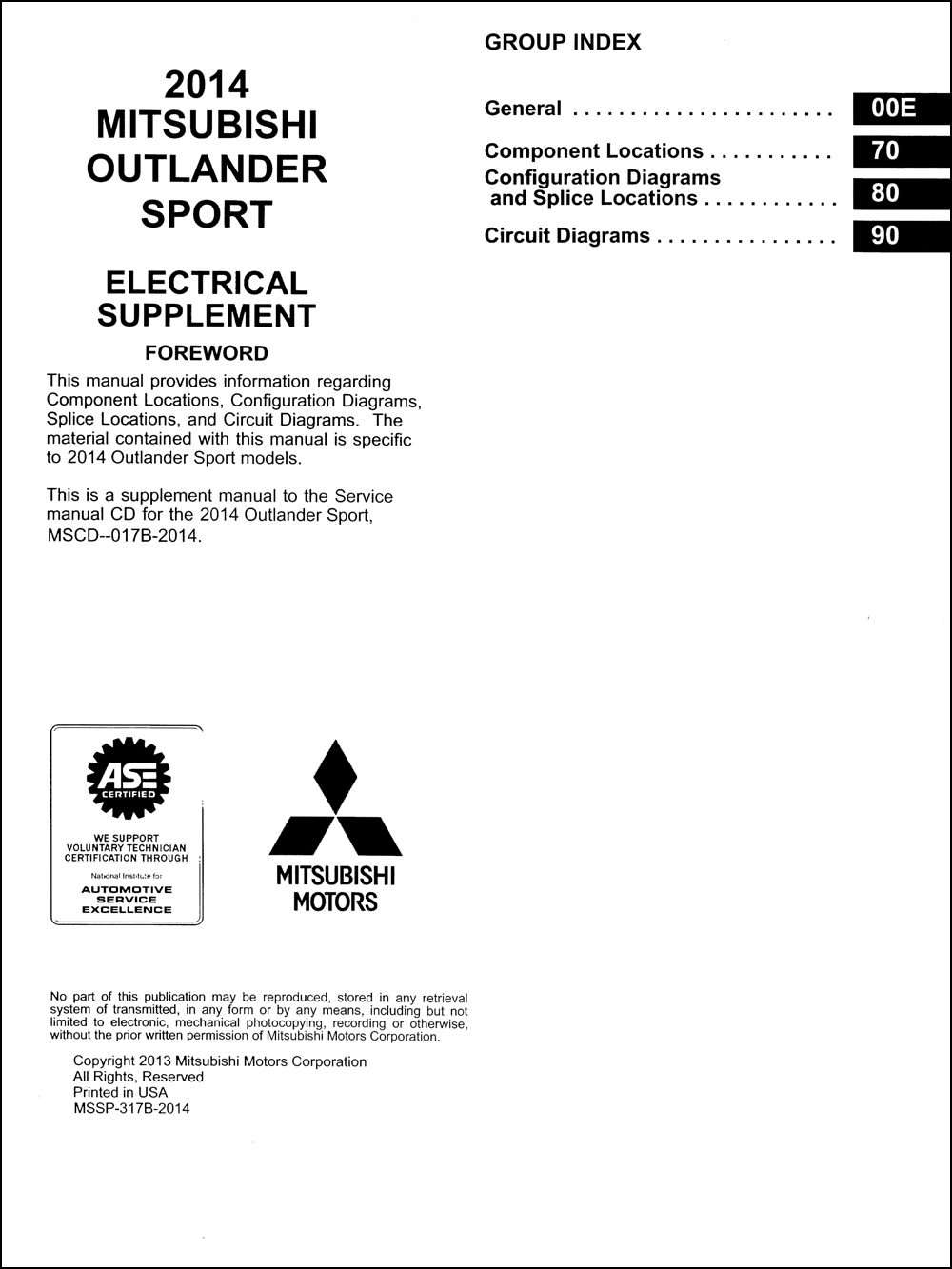2014 mitsubishi outlander sport wiring diagram manual original  faxon auto literature