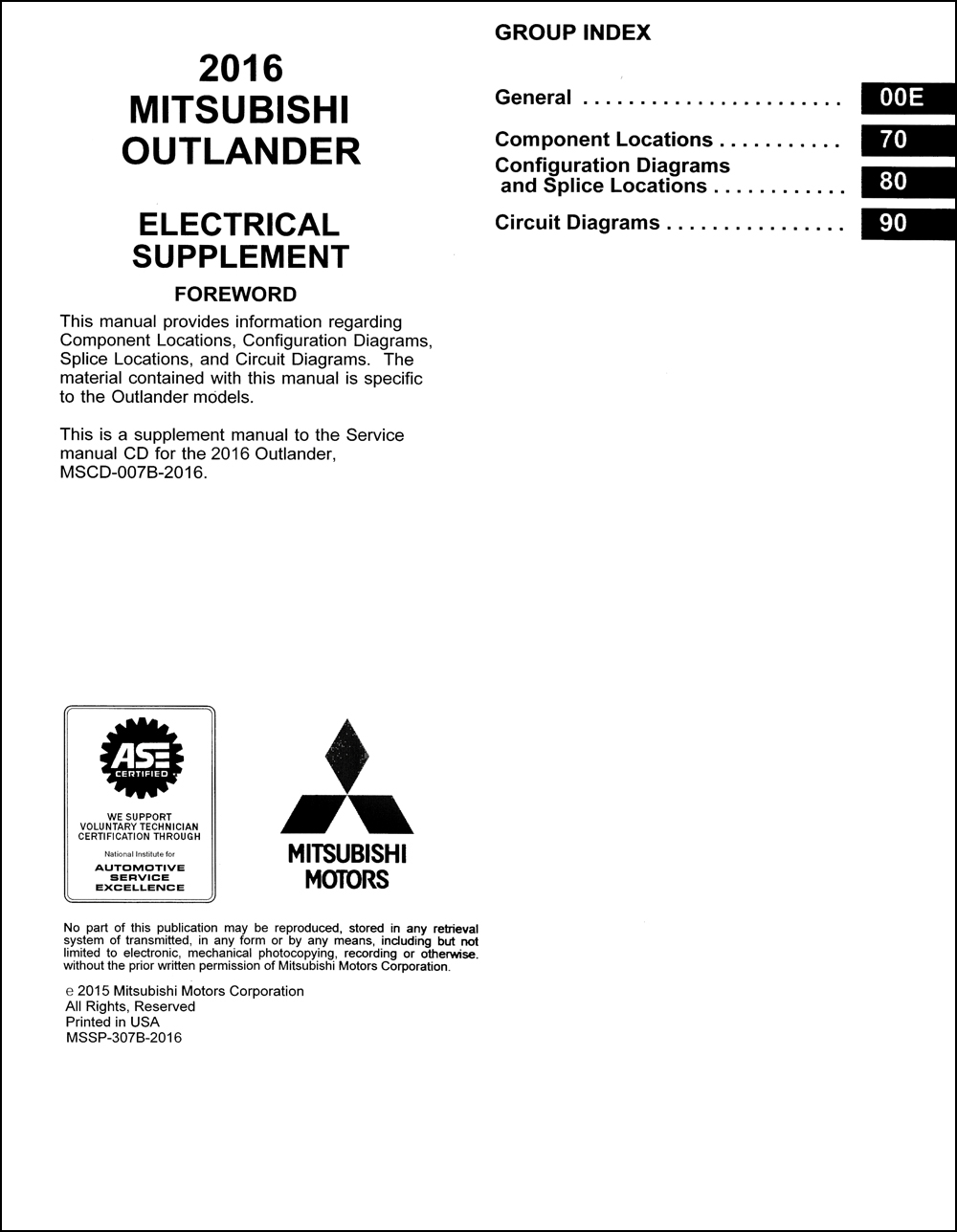 2016 Mitsubishi Outlander Wiring Diagram Manual Original