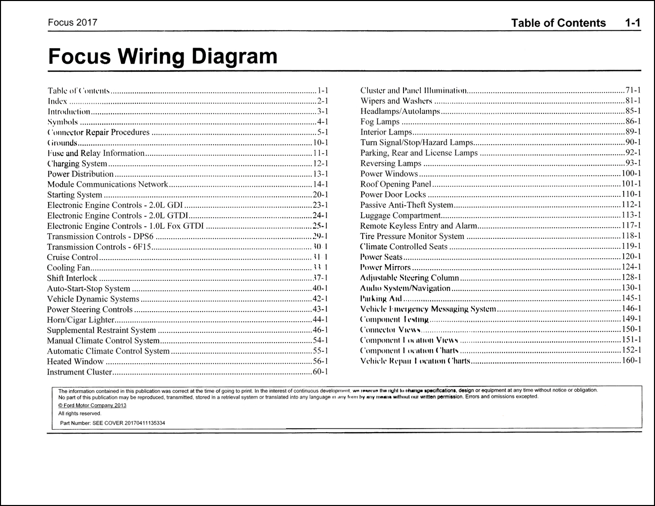 2017 Ford Focus Wiring Diagram Manual Original