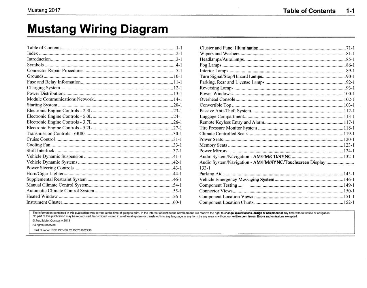 2017 Ford Mustang Wiring Diagram Manual Original