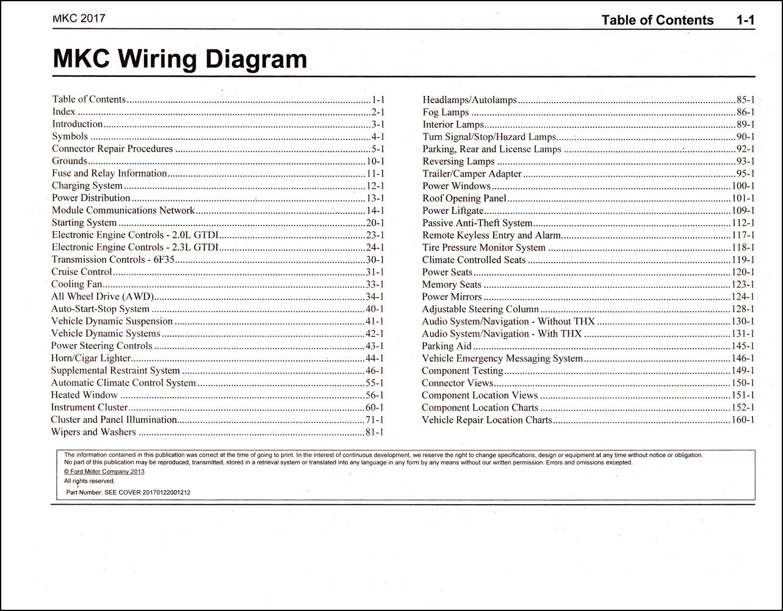 2017 Lincoln Mkc Wiring Diagram Manual Original