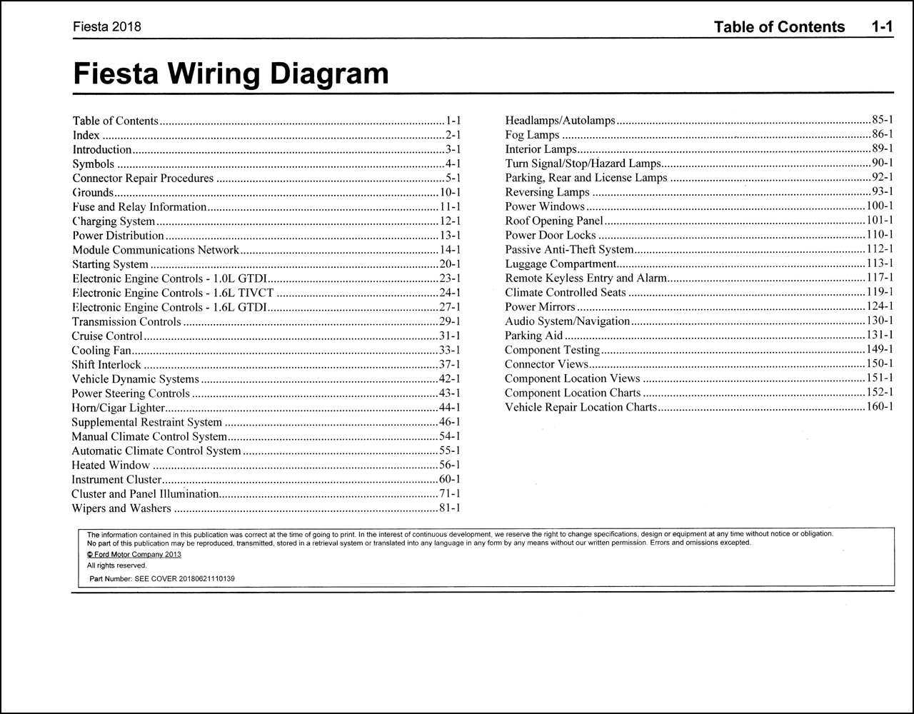 2018 Ford Fiesta Wiring Diagram Manual Original