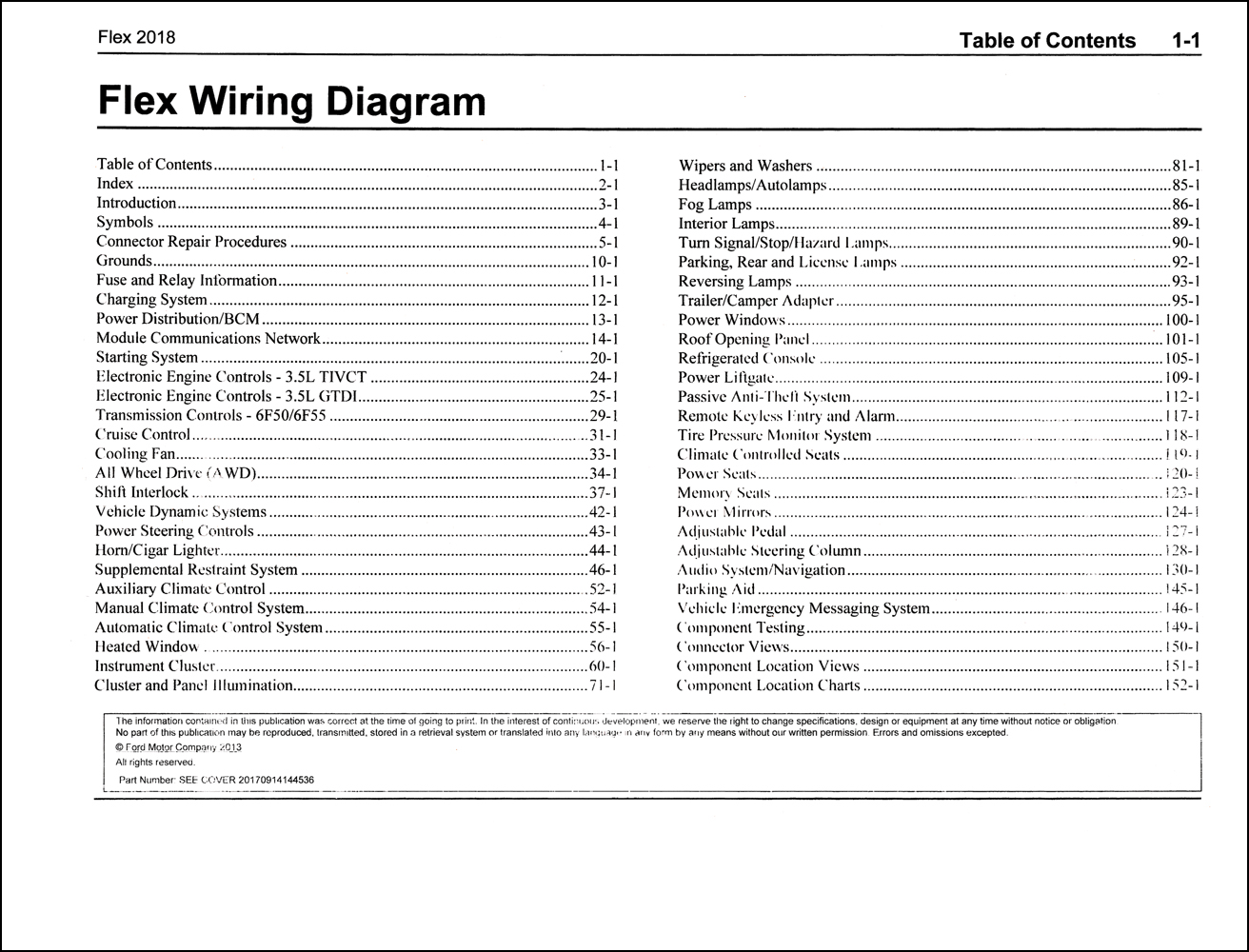 2018 Ford Flex Wiring Diagram Manual Original