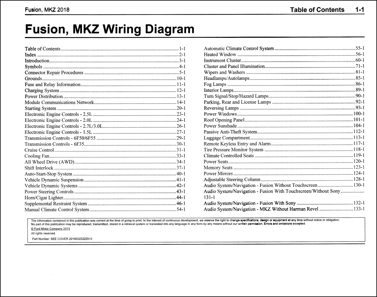 2018 Ford Fusion Lincoln Mkz Wiring Diagram Manual