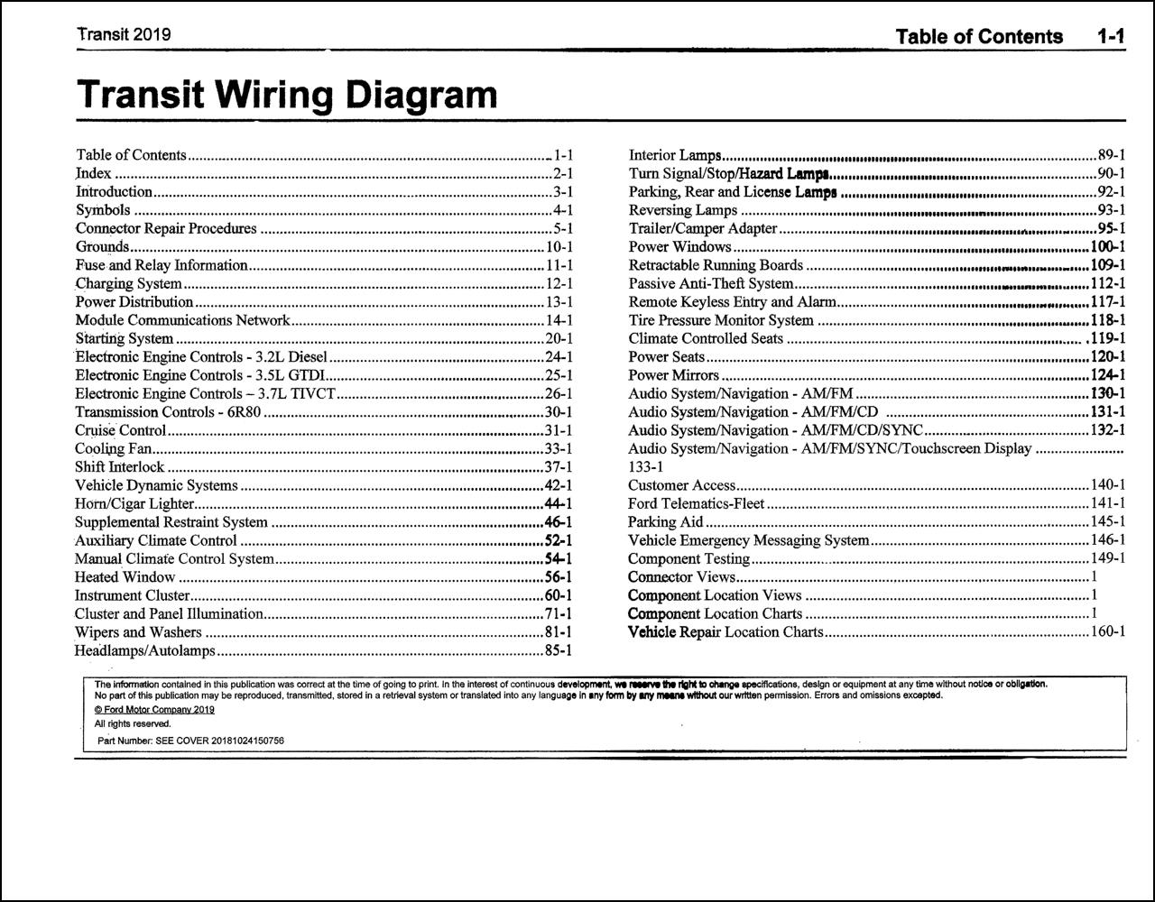 2019 Ford Transit Wiring Diagram Manual Original