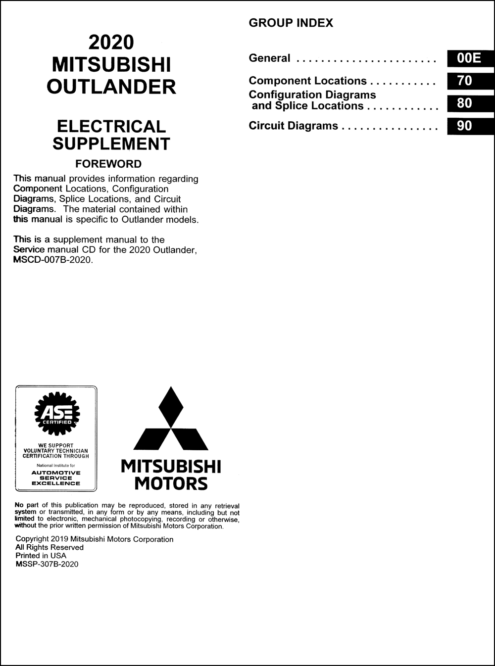 2020 Mitsubishi Outlander Wiring Diagram Manual Original