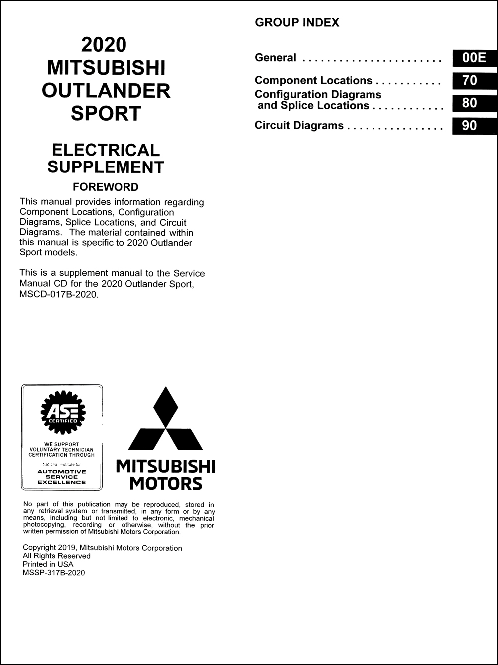 2020 Mitsubishi Outlander Sport Wiring Diagram Manual Original