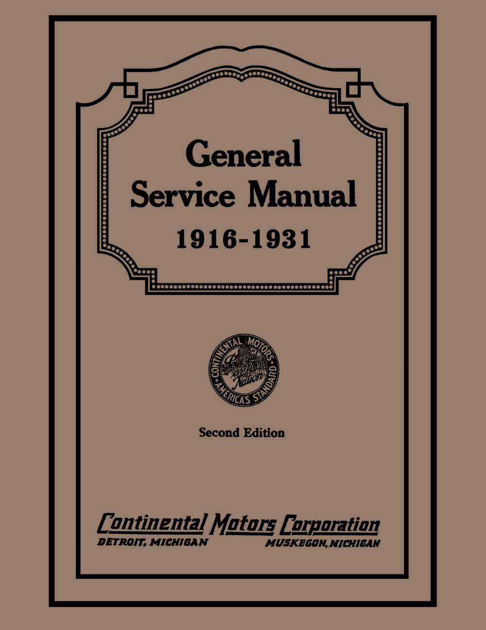 1916-1931 Continental Red Seal Engine Service Manual Reprint