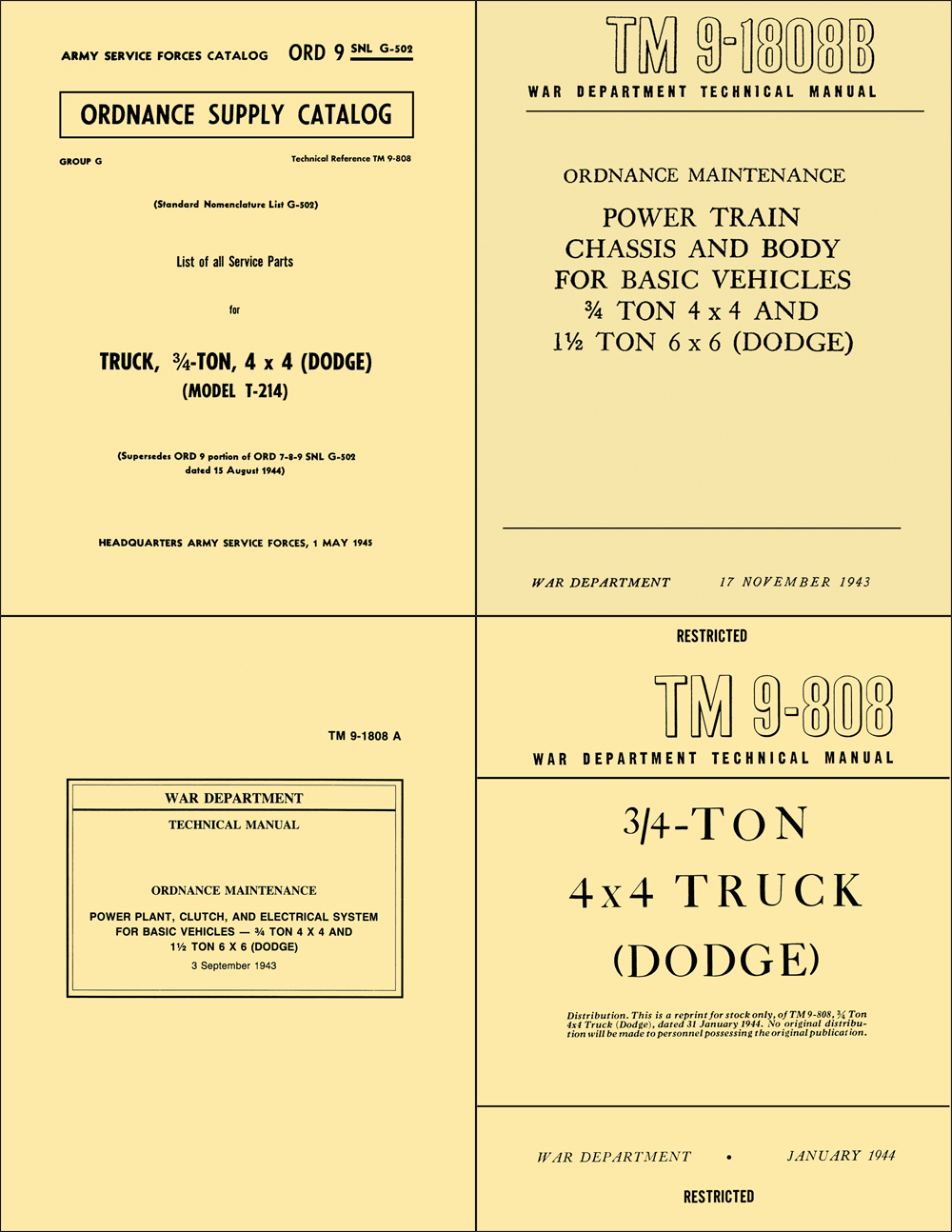 1941-1947 Dodge WC 3/4-Ton Military 4 Book Set Reprint Shop Manuals and Parts Book