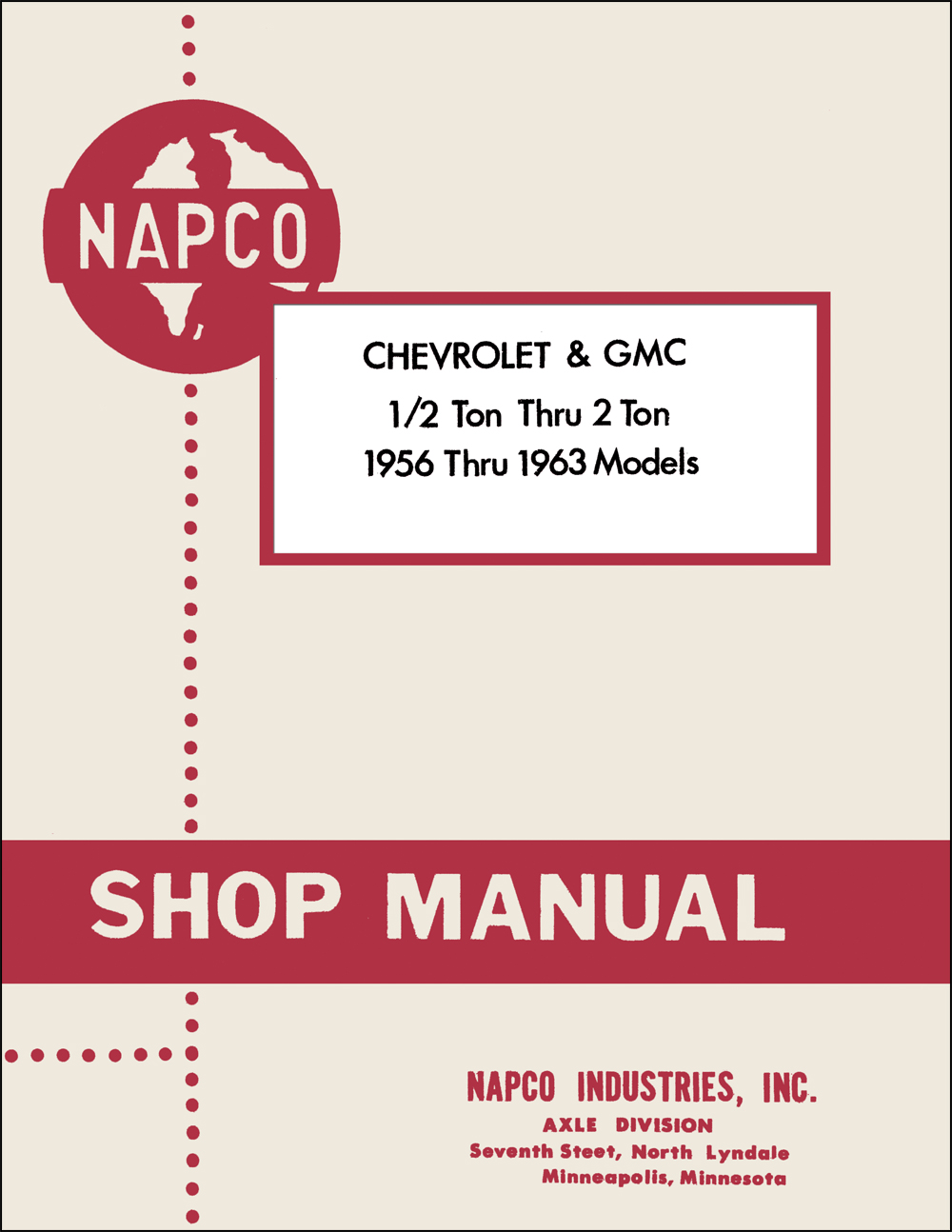 1956-1963 Chevrolet GMC NapCo 4x4 Pickup Truck Shop Manual Reprint