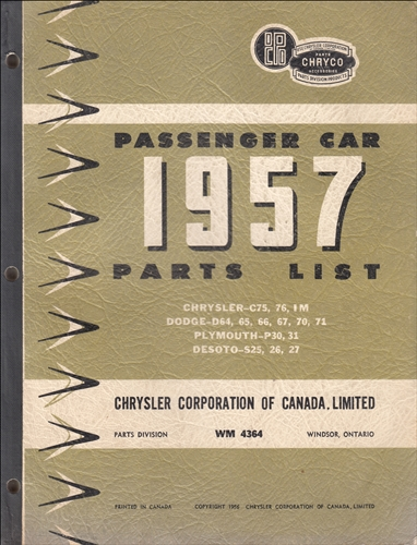 1957 Chryco Car Parts Book Original Canadian, published Dec. 56