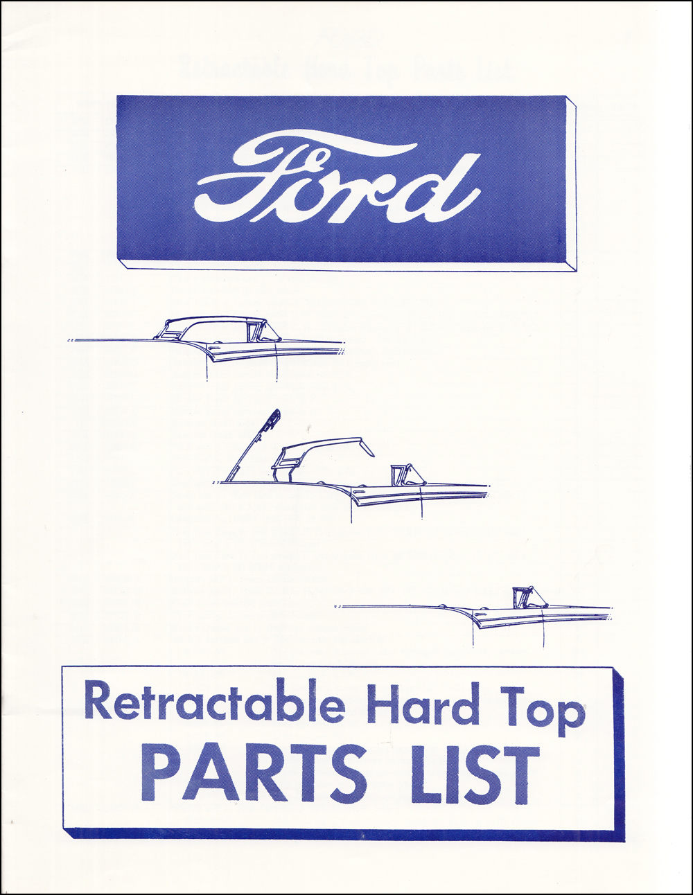 1957 Ford Skyliner Retractable Hard Top Parts Book Reprint